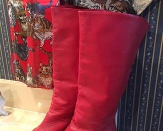 Soft, red leather hipster boots, made in Brazil