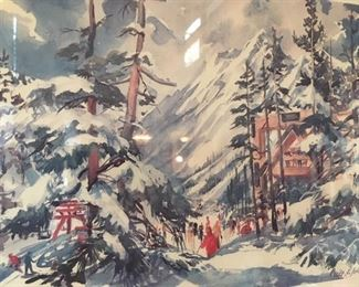 One of four large framed color litho prints, all alpine scenes by noted artist Cecile Ryden Johnson (1916-2010).