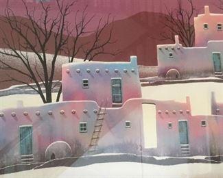 "Large framed litho print ""Adobe Pueblos"" by Dorothy Drum"