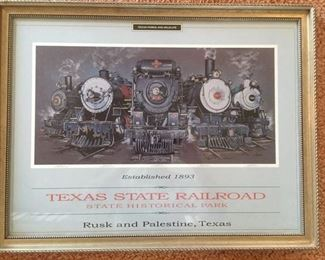 Framed litho poster from the Texas State Railroad State Historical Park, Rusk & Palestine, TX
