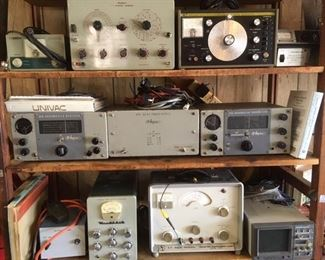 Amateur radio equipment; this photo of an overall grouping; detail photos of each follow