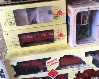 New in box Christmas Tree Farm train; tracks and power units in next photo