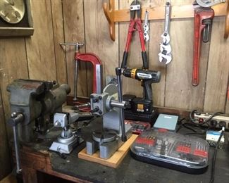Various bench equipment, power and hand tools