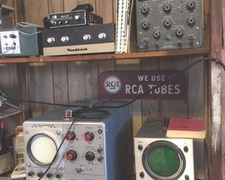 CB radio equiopment, RCA metal advertising sign, Oscillators; this photo of an overall grouping; detail photos of each follow