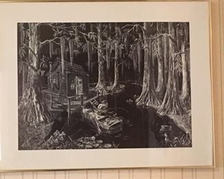 "Framed b&w litho print of scratchboard ""On the Bayou"", numbered #292/500 and signed in pencil by artist Jack W. Lawrence"