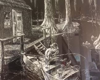 Detail of scratchboard print by Jack Lawrence