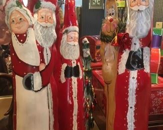 Large cyprus wood Santa with Rudolph, Santa and Mr & Mrs. Claus, carved, hand-painted and signed by Louisiana artist Dawn LeBlanc