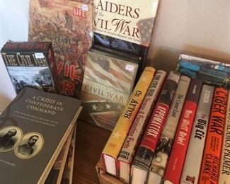 Assortment of books, DVDs specific to the Civil War