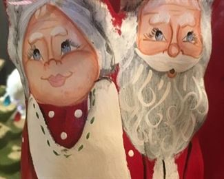 Detail of hand-painted cyprus Mr & Mrs Claus by Louisiana artist Dawn LeBlanc
