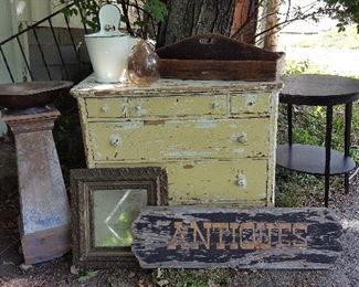 """Antiques"" sign, mirrors, dressers, pedestals, enamelware and more!"