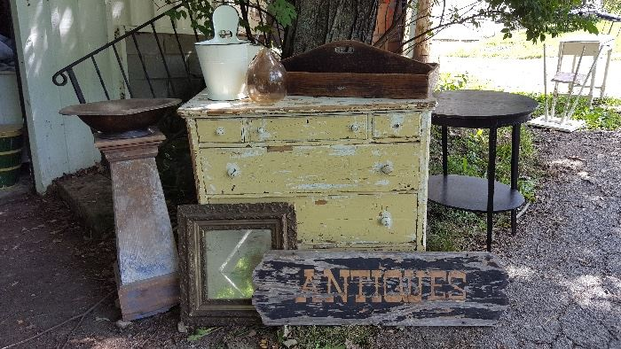 """""""Antiques"""" sign, mirrors, dressers, pedestals, enamelware and more!"""