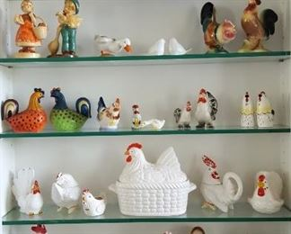 Large collection of chickens and roosters