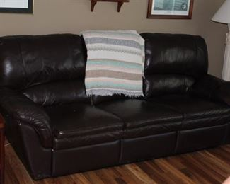 2 year old leather electric reclining sofa excellent  condition, floor lamp