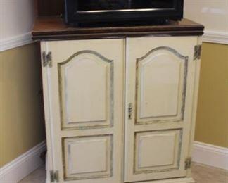 wine cooler,  vintage server (dry Bar) inside is full of items