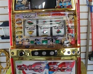 slot machine and high directors chair yard and garden tools