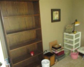 oak shelf, lamp, baskets and decorative boxes