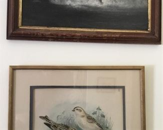 Antique oil on canvas of a waterfall and a framed antique bird print.