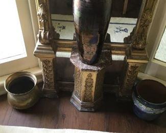 Large raku vase.