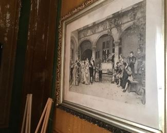 Large antique engraving:  Silver anniversary.