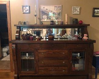 Antique oak buffet sideboard breakfront
