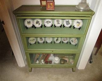 Barrister book case and cat plate collection