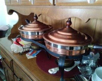 Lots of copper pots and cookware