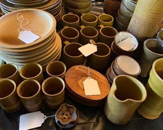 Large set of pottery plates Bowls cups all custom made from Minnesota