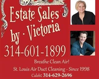 Estate Sales plus my sons business St Louis Air Duct Cleaning.  Many, many estate sale homes and maybe yours need cleaning to Breath Clean Air!  Give him a call soon to book & breathe clean air.