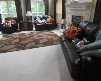 Leather sofa, settee-reclines, recliner chair and misc