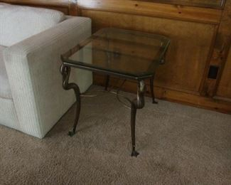 matching side table with heavy glass top