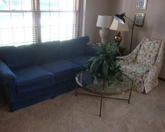 BBS - beautiful blue sofa, round cocktail table, upholstered chair