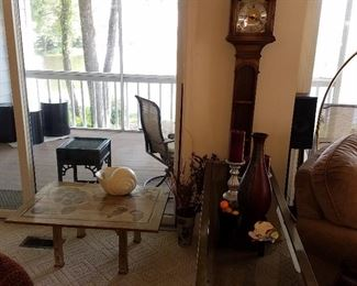Electric 'grandmother' clock, tables, and other decorative items