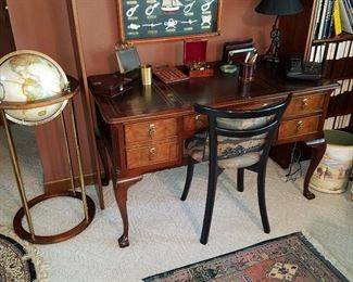 Sligh (Zeeland, Michigan) Desk, globe, lamps, etc. in the Den