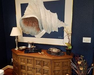 Drexel Cut-corner credenza with panel doors.  Painting of shell by Lee Reynolds