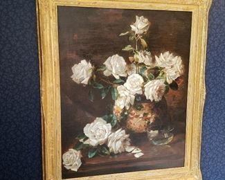 "Original Floral Still life oil on canvas by Mathias Alten (1871 - 1938).  Signed LR, dated 1909. Approx 28"" x 22"". Fresh to the market (never been out of family since purchased from artist)."