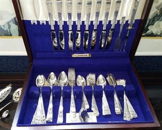 Set of silverplate flatware in fitted case
