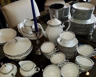 Set of Bavarian china with silver-tone trim