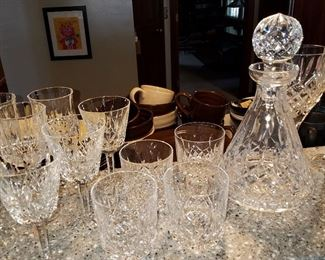 "Waterford decanter, tumblers & stems in ""Lismore"" pattern"
