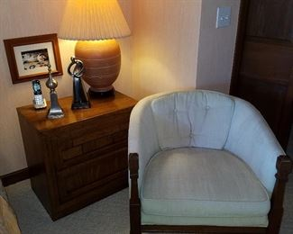 Dixie Furniture company small chest.  Chair with tufted pillow back