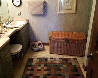 Wicker trunk, etc. in bathroom