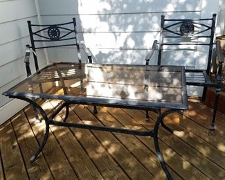 Glass top outdoor table with 2 chairs