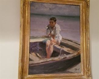 "Oil on canvas (laid on board) of boy in boat. In lower right: ""M. Alten, Valencia, 1912"".  Painted when he was in Spain.  Approx size 12"" x 9"".  Fresh to the market (never been out of family since purchased from artist)."