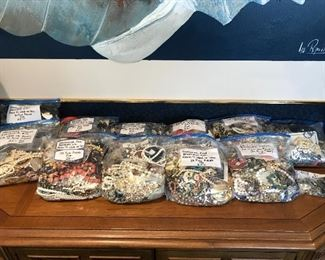 Bags full of wearable/resalable costume jewelry.  Assorted Necklaces, earrings, and bracelets.