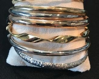 14K yellow and white gold bracelets