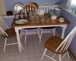 Painted kitchen table set with chairs