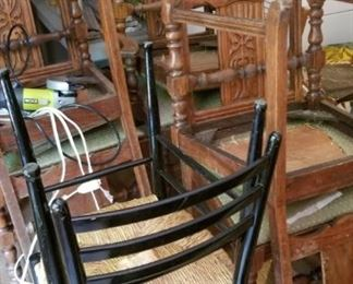 Italian Rushed Cafe Chairs  (4) and Antique Dining Chairs (6)