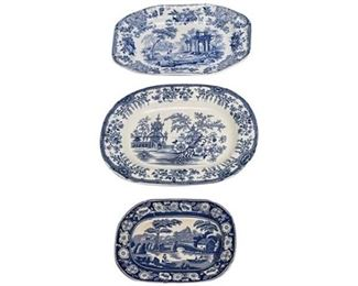 7. Lot of Three 3 Antique English Blue and White Platters