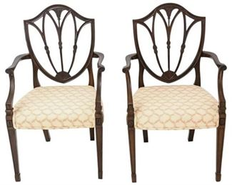 8. Pair Hepplewhite Style Shield Back Armchairs