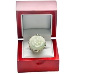 10. Carved Jade Womens Sterling Silver Ring wGemstones