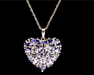 13. Womens Sterling Silver Heart Pendant wPurple Stones  Chain